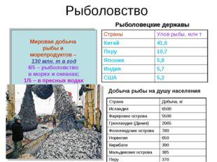 Рыболовство Мировая добыча рыбы и морепродуктов – 130 млн. т в год 4/5 – рыбо