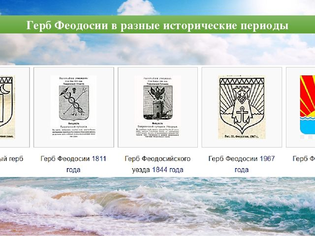 Герб Феодосии в разные исторические периоды