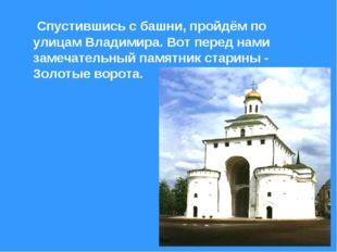 Спустившись с башни, пройдём по улицам Владимира. Вот перед нами замечатель