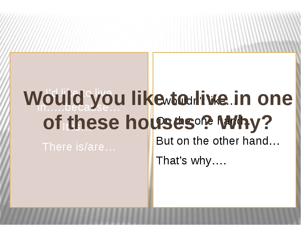 I'd like to live in…..because… It is… There is/are… I wouldn't like… On the o...
