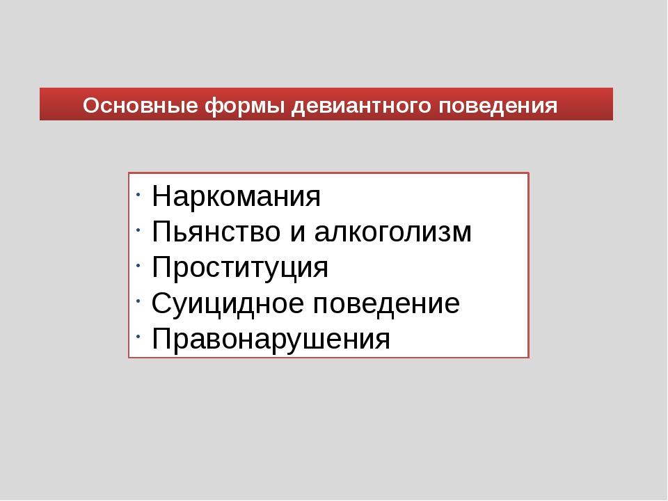 Основные формы девиантного поведения Наркомания Пьянство и алкоголизм Простит...