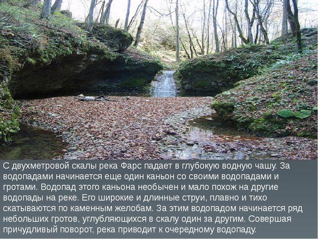 С двухметровой скалы река Фарс падает в глубокую водную чашу. За водопадами н...