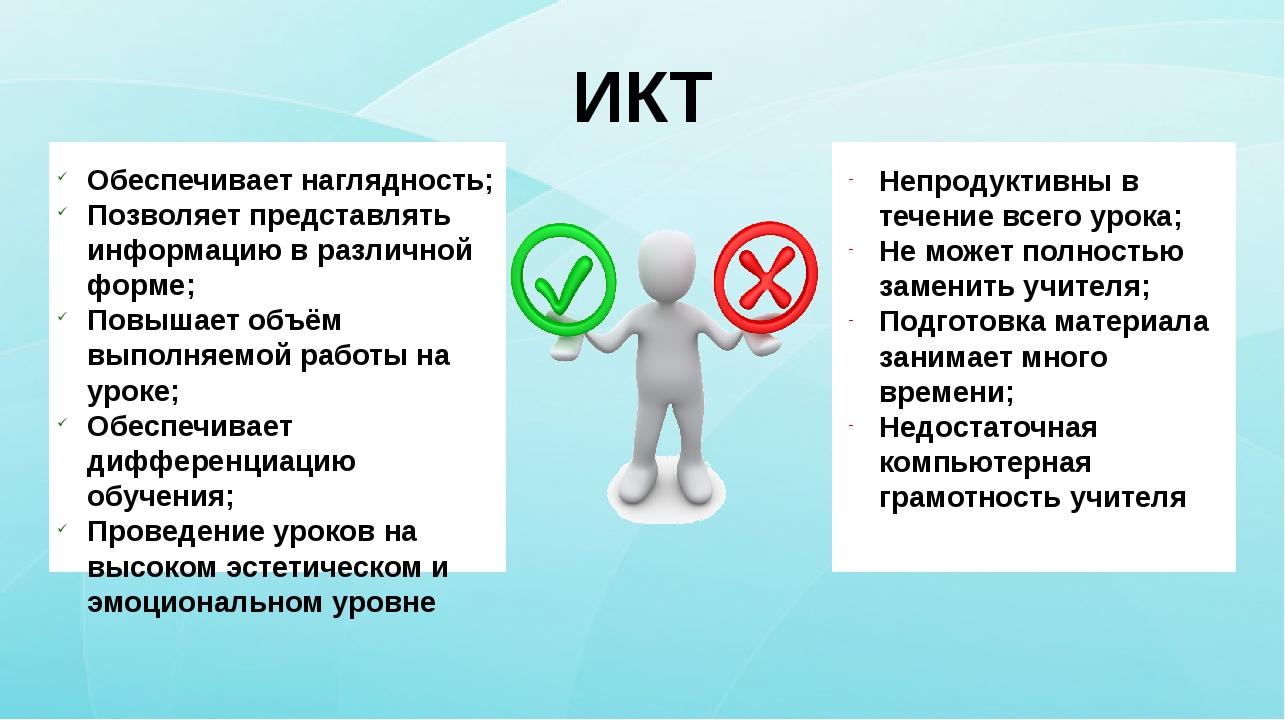 ИКТ Обеспечивает наглядность; Позволяет представлять информацию в различной...