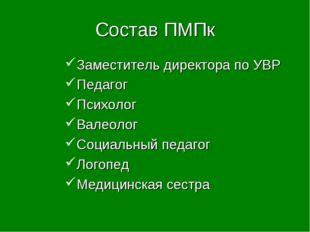 Состав ПМПк Заместитель директора по УВР Педагог Психолог Валеолог Социальный