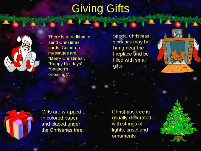 Giving Gifts There is a tradition to send Christmas cards. Common messages ar...