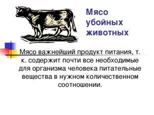 Мясо убойных животных Мясо важнейший продукт питания, т. к. содержит почти вс