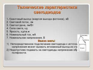 Технические характеристики светодиодов 1. Квантовый выход (энергия выхода фот