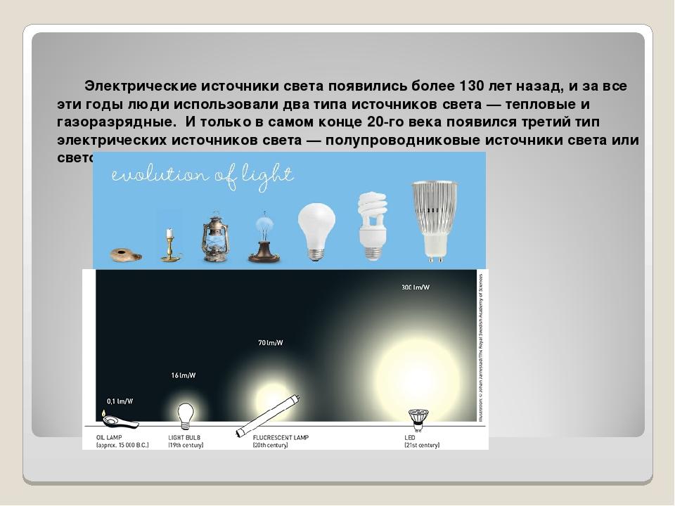 Электрические источники света появились более 130 лет назад, и за все эти год...