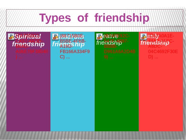Types of friendship
