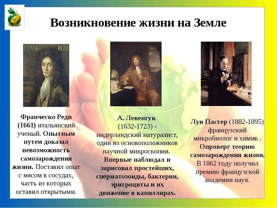 Возникновение жизни на Земле Франческо Реди (1661) итальянский ученый. Опытны...