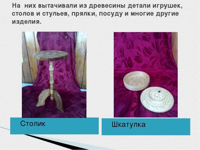 На них вытачивали из древесины детали игрушек, столов и стульев, прялки, посу...