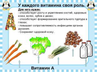 У каждого витамина своя роль. Витамин А живет Для чего нужен: - способствует