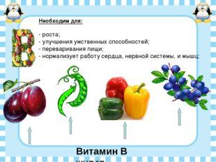 Витамин В живет Необходим для: - роста; - улучшения умственных способностей;