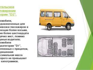 """Водительское удостоверение категории """"D1"""". автомобили, предназначенные для пе"""