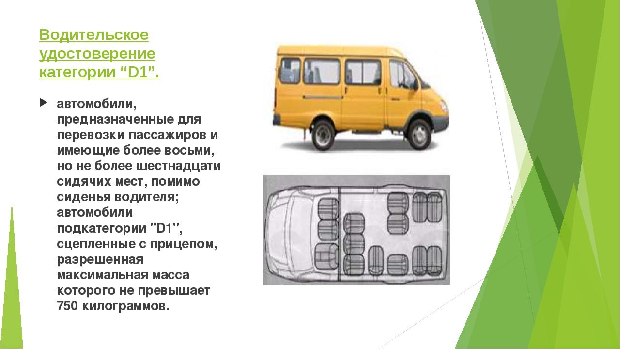 """Водительское удостоверение категории """"D1"""". автомобили, предназначенные для пе..."""