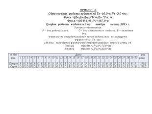 ПРИМЕР 3. Односменная работа водителей Тн=10,0 ч; Nв=2,0 чел. Фрв.в.=(Дк-Дв-