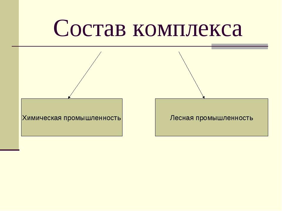 Состав комплекса Химическая промышленность Лесная промышленность