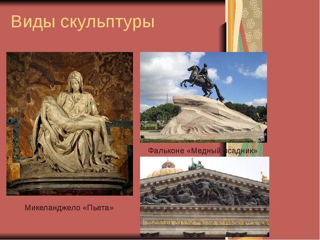 Виды скульптуры Микеланджело «Пьета» Фальконе «Медный всадник»