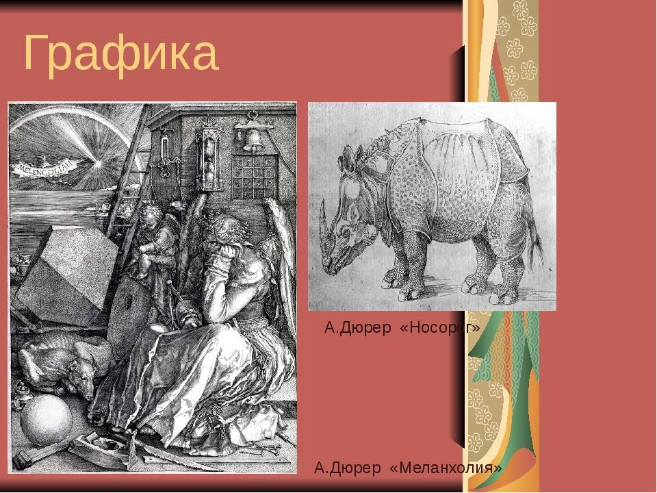 Графика А.Дюрер «Носорог» А.Дюрер «Меланхолия»