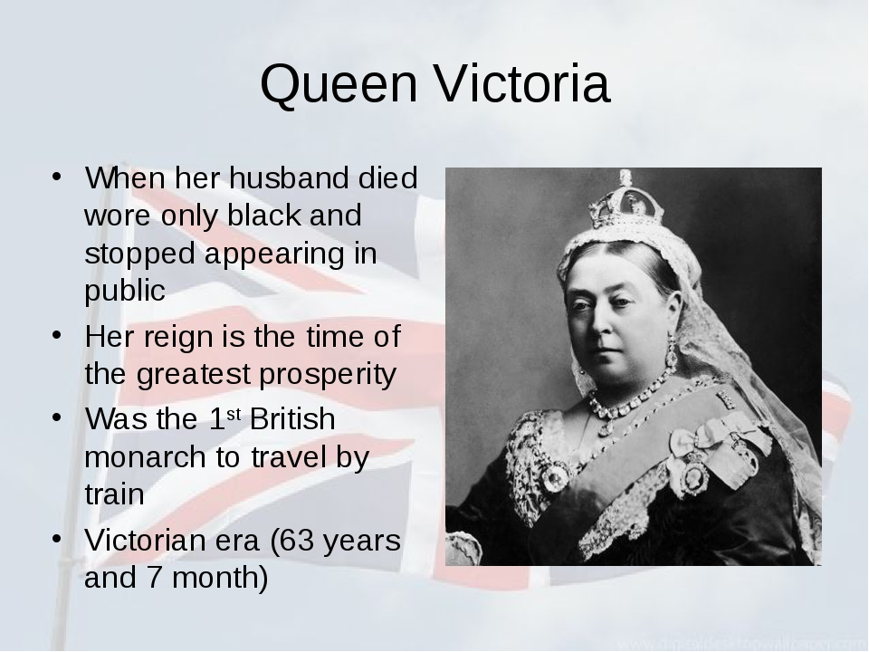 Queen Victoria When her husband died wore only black and stopped appearing in...