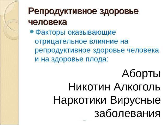 Аборты Никотин Алкоголь Наркотики Вирусные заболевания