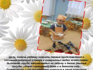 Цель: помочь ребенку освоить первые представления и соответствующий словарь
