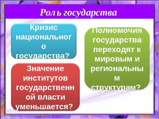 Роль государства Полномочия государства переходят к мировым и региональным ст...