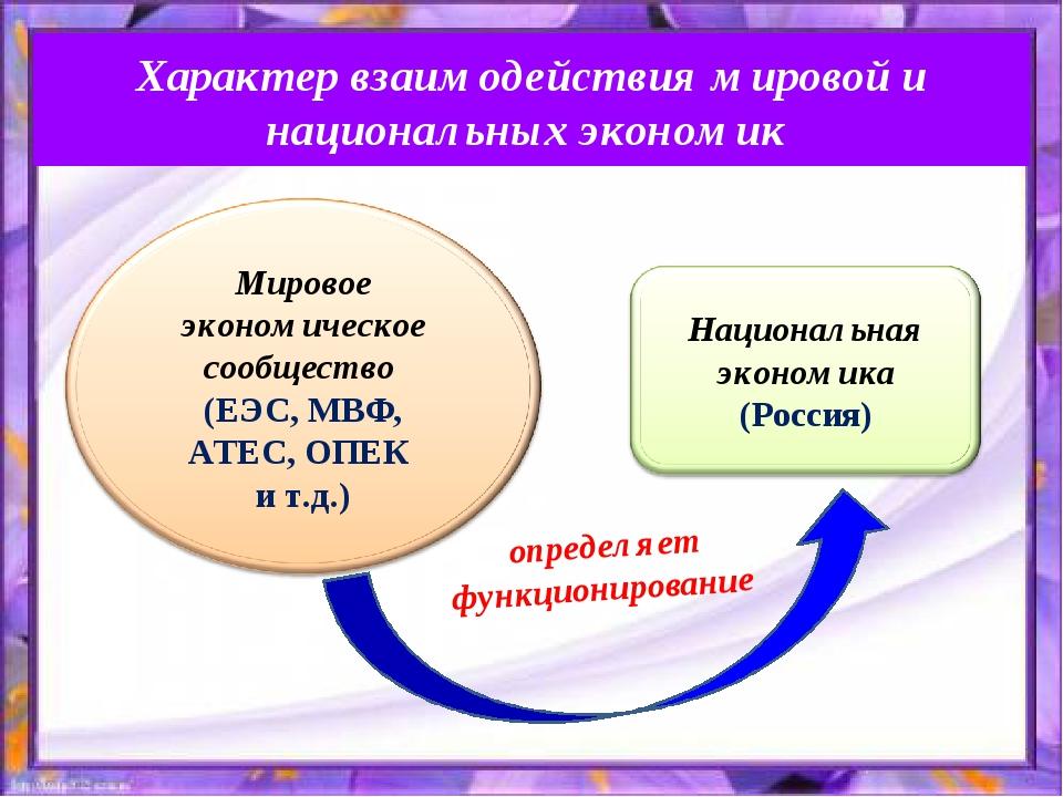 Характер взаимодействия мировой и национальных экономик определяет функционир...