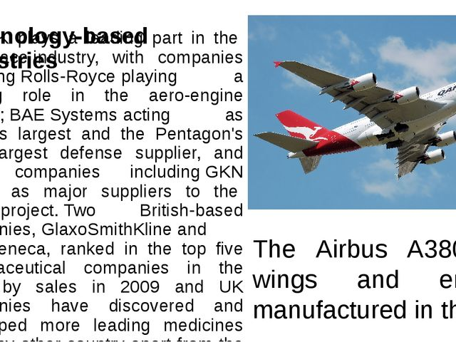 Technology-based industries The UK plays a leading part in theaerospaceindu...