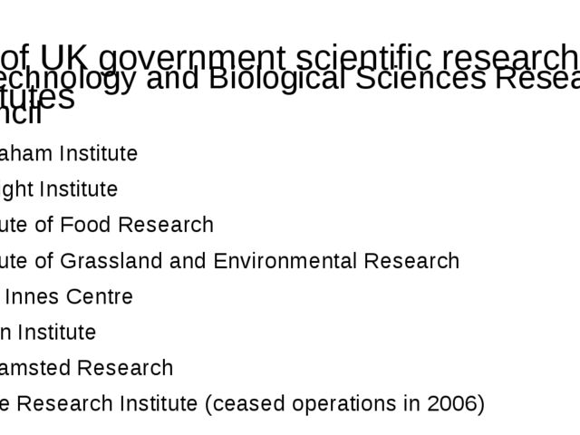 List of UK government scientific research institutes Biotechnology and Biolog...