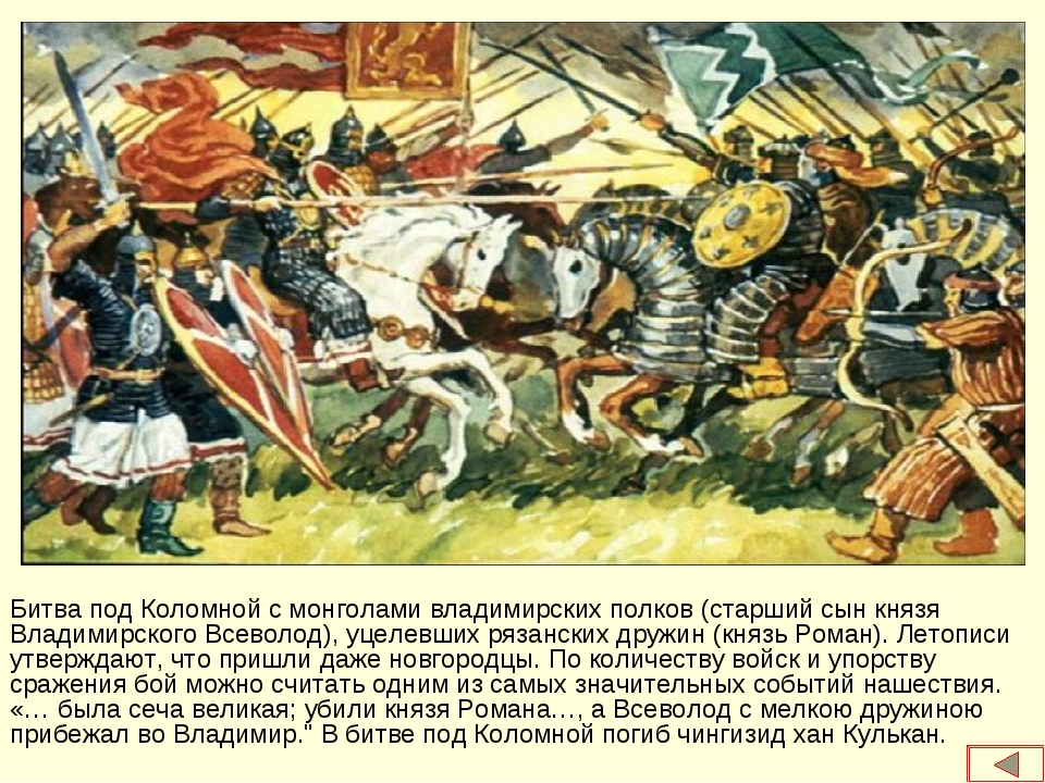 Битва под Коломной с монголами владимирских полков (старший сын князя Владими...
