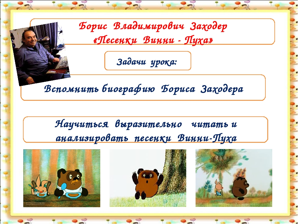 Задачи урока: Вспомнить биографию Бориса Заходера Борис Владимирович Заходер...