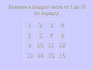 Впишем в квадрат числа от 1 до 16 по порядку. 1 2 3 6 4 8 7 5 14 15 13 16 11