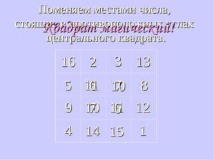 16 2 3 6 13 8 7 5 14 15 4 1 11 10 12 9 Поменяем местами числа, стоящие в прот