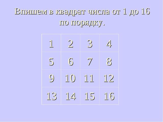 Впишем в квадрат числа от 1 до 16 по порядку. 1 2 3 6 4 8 7 5 14 15 13 16 11...