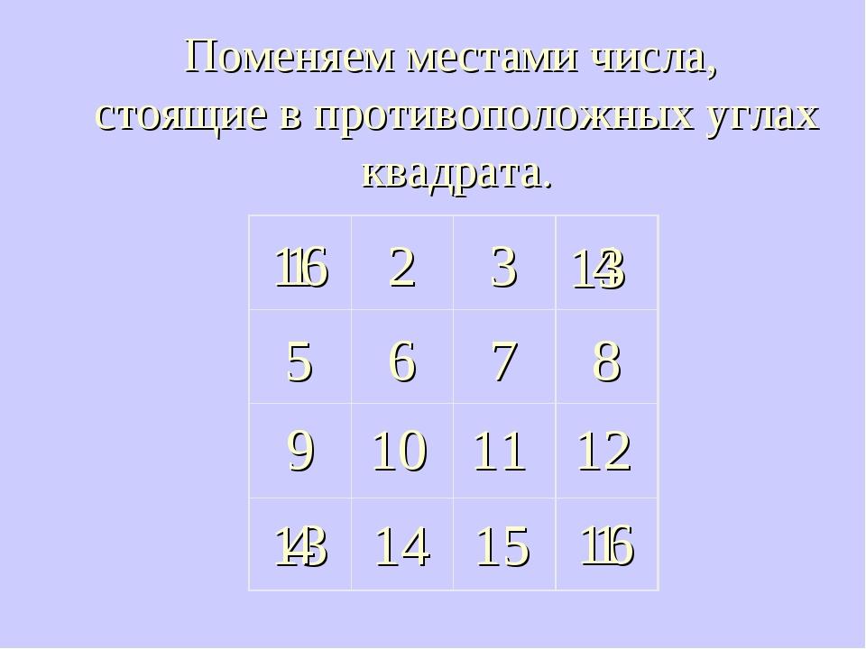 1 2 3 6 4 8 7 5 14 15 13 16 11 10 12 9 Поменяем местами числа, стоящие в прот...