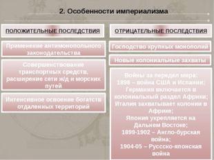 2. Особенности империализма ПОЛОЖИТЕЛЬНЫЕ ПОСЛЕДСТВИЯ ОТРИЦАТЕЛЬНЫЕ ПОСЛЕДСТВ