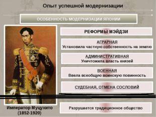 Император Муцухито (1852-1920) АГРАРНАЯ Установила частную собственность на з