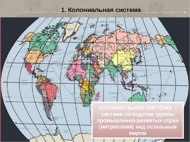 1. Колониальная система КОЛОНИАЛЬНАЯ СИСТЕМА – система господства группы пром...