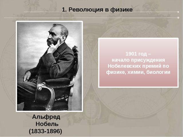 1. Революция в физике Альфред Нобель (1833-1896) 1901 год – начало присуждени...