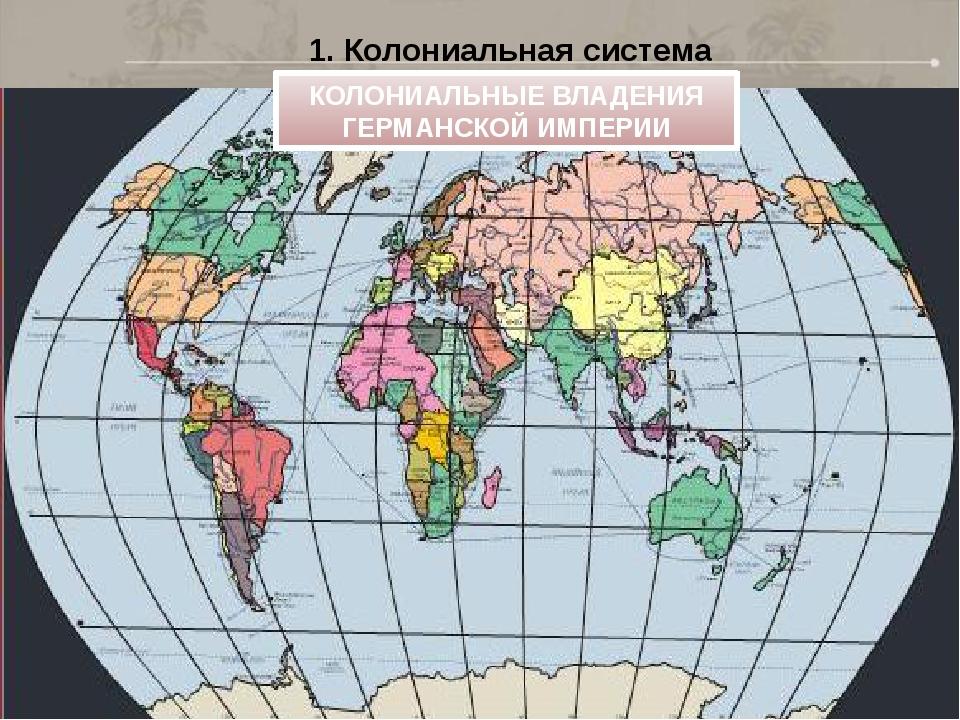 1. Колониальная система КОЛОНИАЛЬНЫЕ ВЛАДЕНИЯ ГЕРМАНСКОЙ ИМПЕРИИ