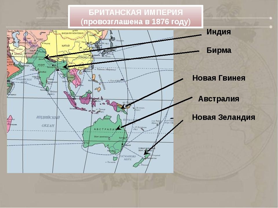 Индия Бирма Новая Гвинея Австралия Новая Зеландия БРИТАНСКАЯ ИМПЕРИЯ (провоз...