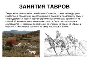 ЗАНЯТИЯ ТАВРОВ Тавры жили компактными семейными общинами, совместно ведущими