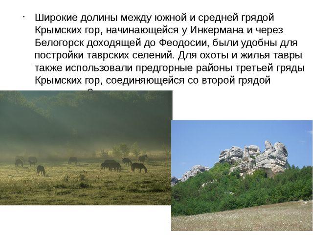 Широкие долины между южной и средней грядой Крымских гор, начинающейся у Инке...