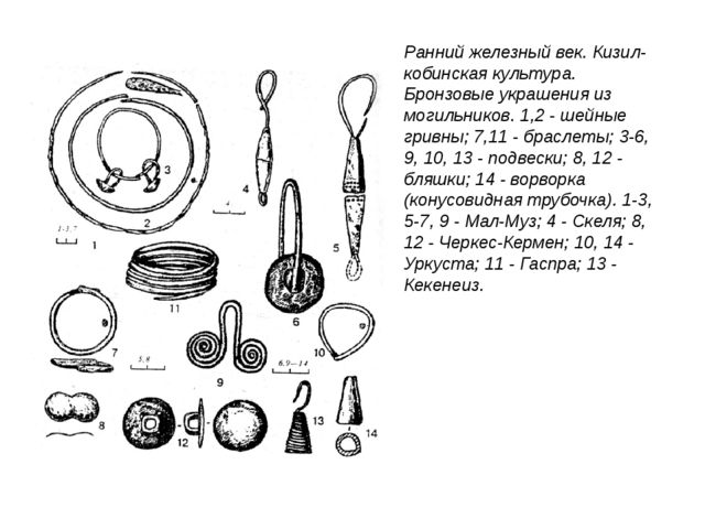 Ранний железный век. Кизил-кобинская культура. Бронзовые украшения из могильн...