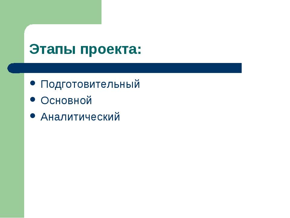 Этапы проекта: Подготовительный Основной Аналитический