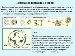 Нарезание наружной резьбы Для нарезания наружной (внешней) резьбы используют