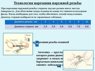 Технология нарезания наружной резьбы При нарезании наружной резьбы стержень п