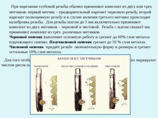 При нарезании глубокой резьбы обычно применяют комплект из двух или трех мет