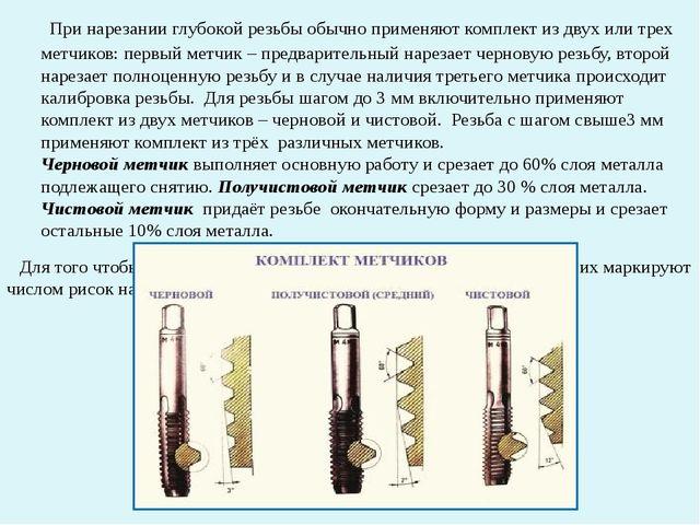При нарезании глубокой резьбы обычно применяют комплект из двух или трех мет...
